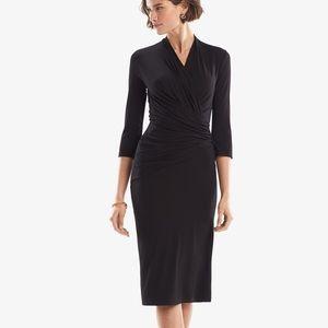 MM Lafleur black ruched casey 3/4 sleeves dress M